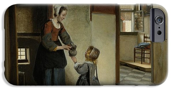 Domestic Scene iPhone Cases - Woman with a Child in a Pantry iPhone Case by Pieter de Hooch