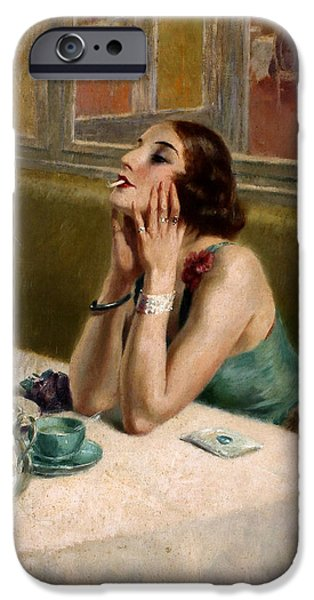 Prostitution Paintings iPhone Cases - Woman with a Cigarette iPhone Case by Henri Thomas