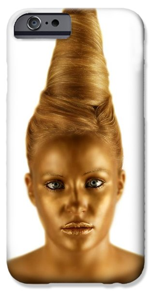 Statue Portrait iPhone Cases - Woman With A Golden Face iPhone Case by Darren Greenwood