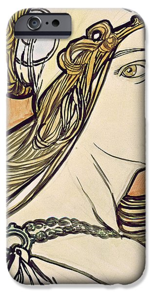 Twentieth Century iPhone Cases - Woman with a Headscarf iPhone Case by Alphonse Marie Mucha