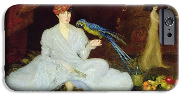 Wine Bottles iPhone Cases - Woman With A Parrot, 1905 Oil On Canvas iPhone Case by Georges Bottini