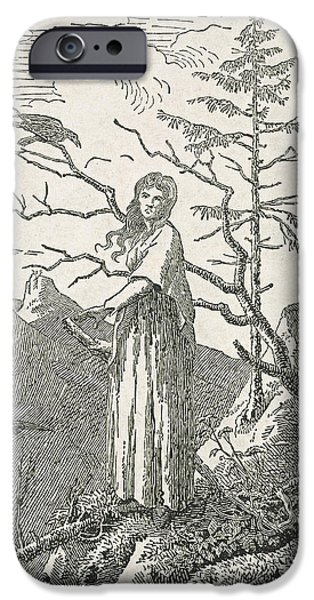 Crow iPhone Cases - Woman with a Raven on the Edge of a Precipice iPhone Case by Caspar David Friedrich