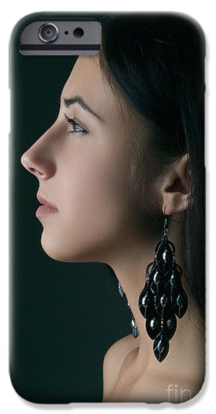 Bare Shoulder iPhone Cases - Woman With Black Hairs iPhone Case by Aleksey Tugolukov