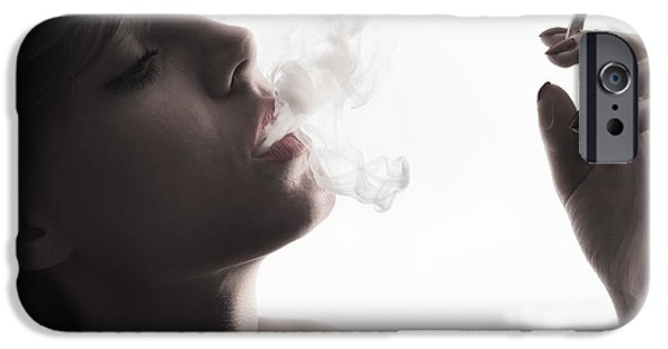 Smoking iPhone Cases - Woman with Cigarette iPhone Case by Jelena Jovanovic