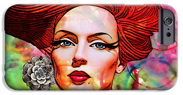 Person Mixed Media iPhone Cases - Woman With Earring iPhone Case by Chuck Staley