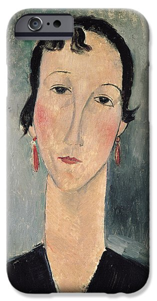 Clemente Paintings iPhone Cases - Woman with Earrings iPhone Case by Amedeo Modigliani