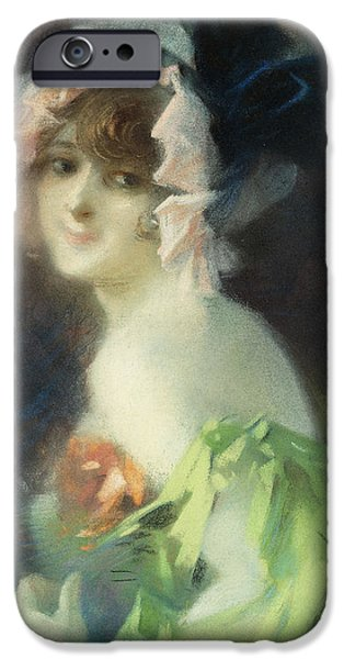 Feminine Pastels iPhone Cases - Woman with Gloves iPhone Case by Jules Cheret