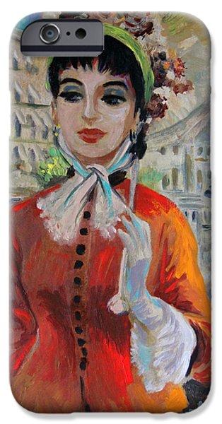Woman with Parasol in Paris iPhone Case by Karon Melillo DeVega