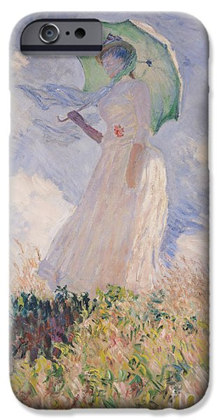 Umbrella iPhone Cases - Woman with Parasol turned to the Left iPhone Case by Claude Monet