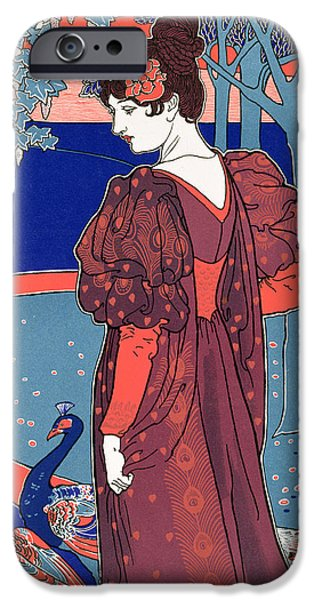 The Blue Face iPhone Cases - Woman with Peacocks iPhone Case by Louis John Rhead