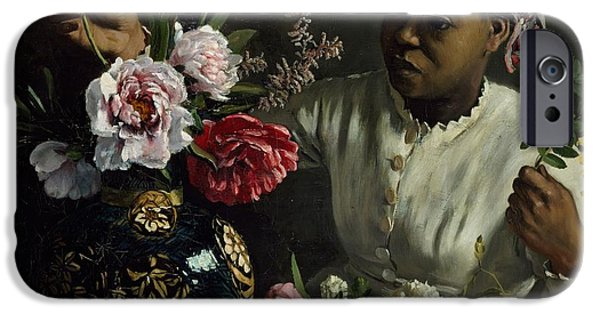 Slaves iPhone Cases - Woman with Peonies iPhone Case by Frederic Bazille