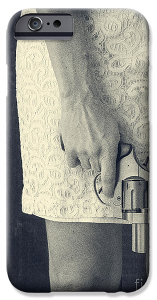 Woman with Revolver 60 x 45 custom iPhone Case by Edward Fielding