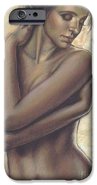 Innocence iPhone Cases - Woman With White Drape Crop iPhone Case by Zorina Baldescu