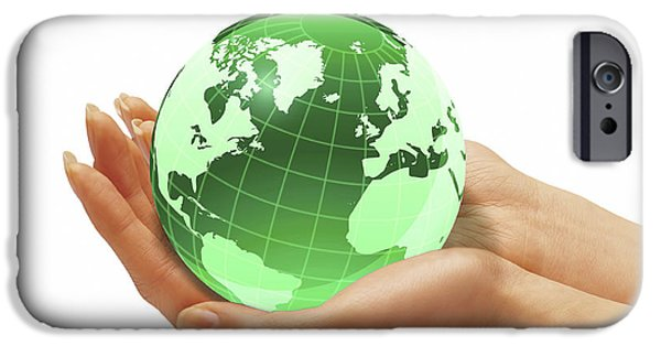 Nature Study iPhone Cases - Womans Hands Holding An Earth Globe iPhone Case by Leonello Calvetti