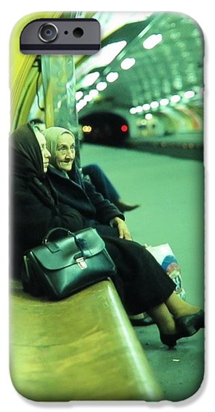 Twin Towers Nyc iPhone Cases - Women at Paris Metro iPhone Case by Daniel Gomez