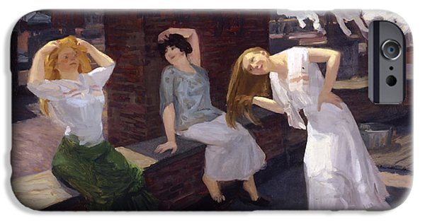 Concept Paintings iPhone Cases - Women Drying Their Hair 1912 iPhone Case by Sloan
