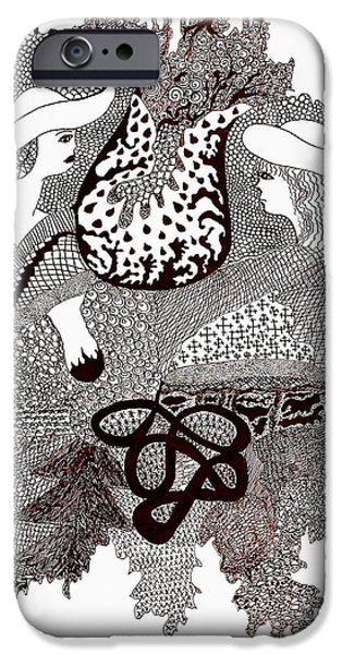 Abstractions Drawings iPhone Cases - Women iPhone Case by Elina Kampusa