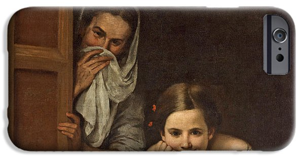 Ledge iPhone Cases - Women from Galicia at the Window iPhone Case by Bartolome Esteban Murillo