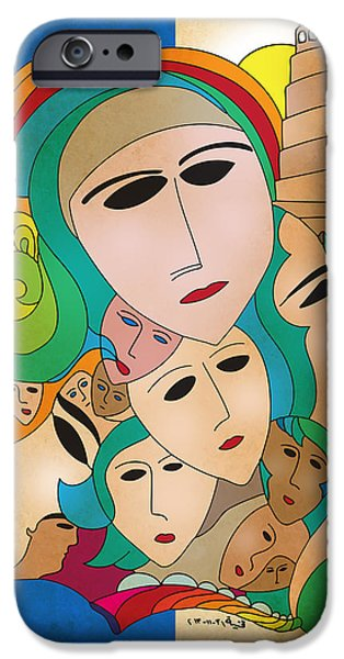 Baghdad Drawings iPhone Cases - Women from Mesopotamia iPhone Case by Qutaiba Al-Mahawili