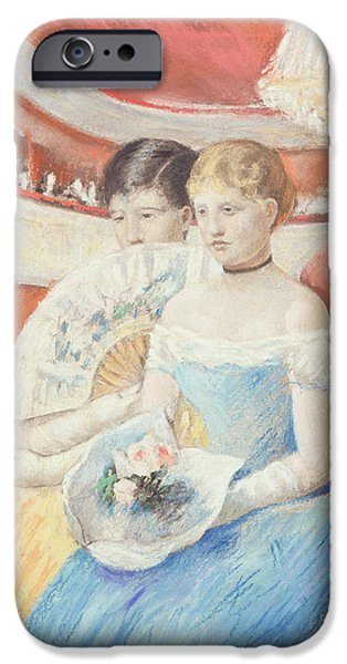 Woman In A Dress iPhone Cases - Women in a Loge iPhone Case by Mary Stevenson Cassatt