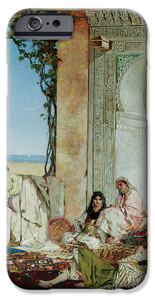 Seraglio Paintings iPhone Cases - Women of a Harem in Morocco iPhone Case by Jean Joseph Benjamin Constant