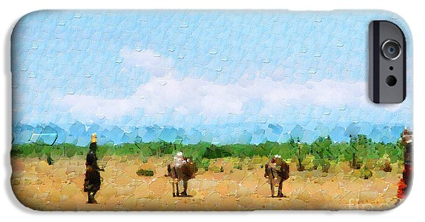 Ethiopian Woman iPhone Cases - Women walking by savanna painting iPhone Case by George Fedin and Magomed Magomedagaev