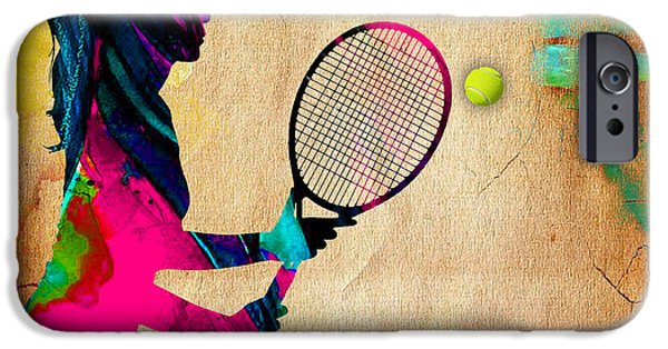 Womens Tennis iPhone Cases - Womens Tennis Painting iPhone Case by Marvin Blaine