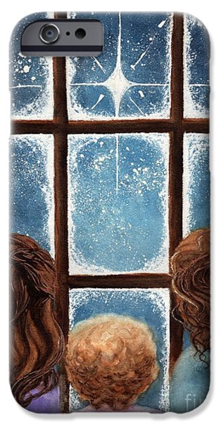 Star Of Bethlehem iPhone Cases - Wonder of the Night iPhone Case by Janine Riley