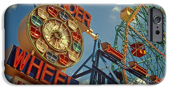 Roller Coaster iPhone Cases - Wonder Wheel - Coney Island iPhone Case by Carrie Zahniser