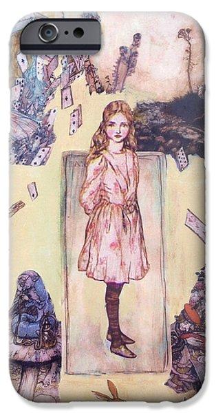 Alice In Wonderland Mixed Media iPhone Cases - Wonderland Alice iPhone Case by Judy Tolley