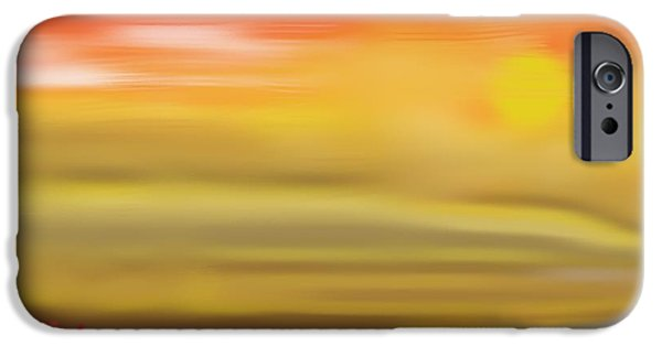Abstract Beach Landscape Drawings iPhone Cases - wonders of Dawn iPhone Case by Jerod Roberts