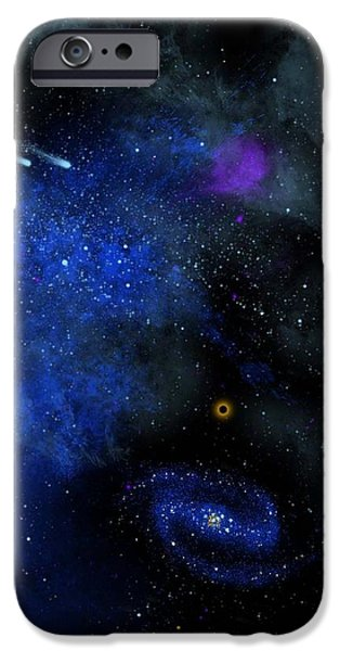 Black Hole Paintings iPhone Cases - Wonders Of The Universe Mural iPhone Case by Frank Wilson