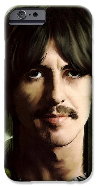 Beatles iPhone Cases - Wondersun George Harrison iPhone Case by Iconic Images Art Gallery David Pucciarelli