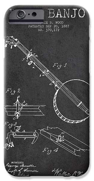 Technical iPhone Cases - Wood Banjo Patent Drawing From 1887 - Dark iPhone Case by Aged Pixel