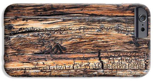 Brown Swiss iPhone Cases - Wood detail - Chalet in Switzerland iPhone Case by Matthias Hauser