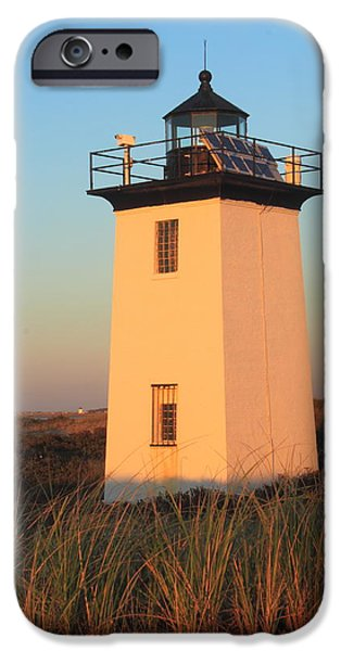 New England Lighthouse iPhone Cases - Wood End Lighthouse Cape Cod Evening Light iPhone Case by John Burk