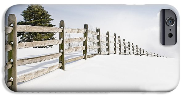 Snow Scene iPhone Cases - Wood fence - old wood fence in the pristine white snow iPhone Case by Gary Heller