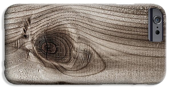 Wood Grain iPhone Cases - Wood knot abstract iPhone Case by Elena Elisseeva