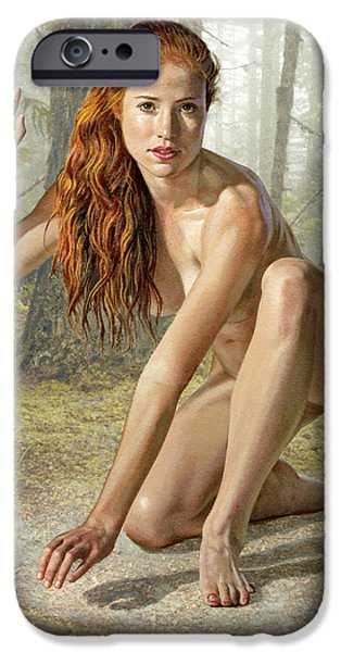 Figures Paintings iPhone Cases - Wood Nymph iPhone Case by Paul Krapf