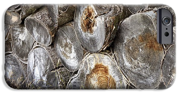 Ann Powell iPhone Cases - Wood Pile -  fine art  photograph iPhone Case by Ann Powell