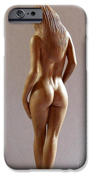 Wooden Sculptures iPhone Cases - Wood Sculpture of Naked Woman - Rear View iPhone Case by Carlos Baez Barrueto