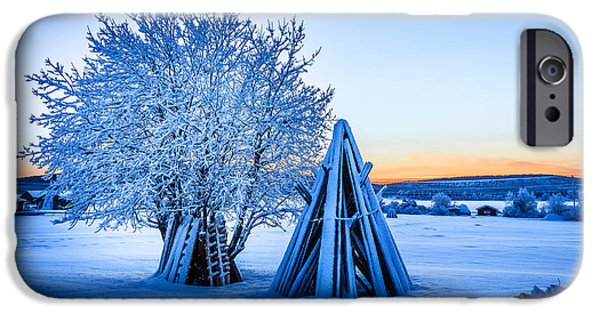 Wintertime iPhone Cases - Wood Stacked And A Snow Covered Tree iPhone Case by Panoramic Images