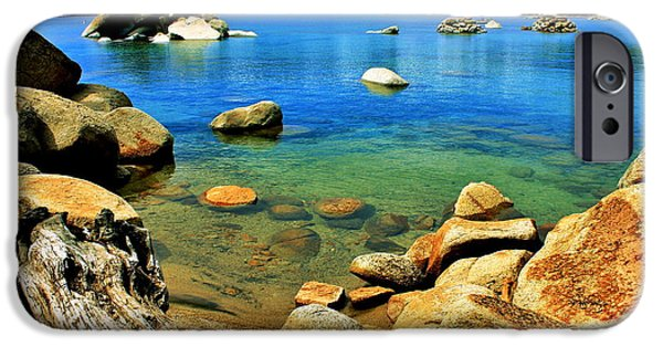 Lake Tahoe iPhone Cases - Wood Stone Water iPhone Case by Benjamin Yeager