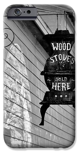 Consumerproduct iPhone Cases - Wood Stoves Sold Here iPhone Case by Christine Till