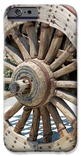 Wooden Wagons iPhone Cases - Wood Wheel iPhone Case by Barbara Snyder