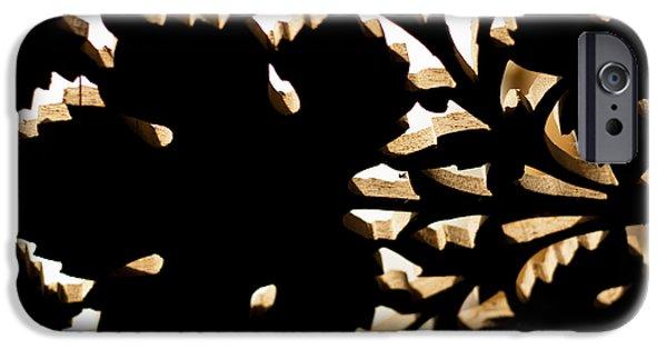 Reverse Art iPhone Cases - Wood Work iPhone Case by Christi Kraft