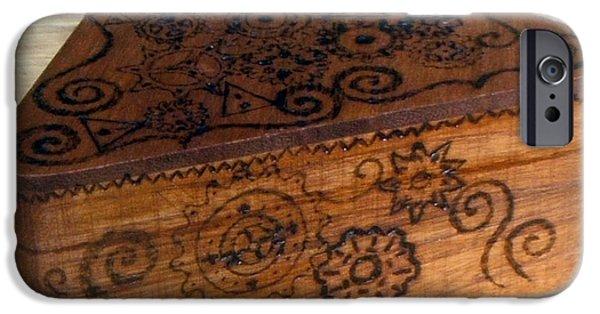 Desk Sculptures iPhone Cases - Woodburned Steampunk Jewlrey box iPhone Case by Bethany Jordan