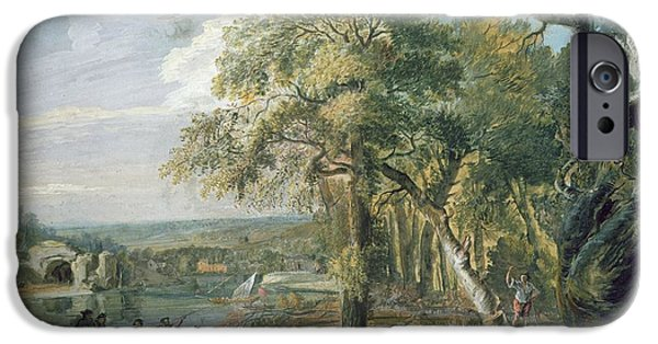 Pull iPhone Cases - Woodcutters Near A River, C.1755 Wc On Paper iPhone Case by Paul Sandby