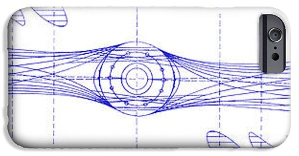 Ww1 Photographs iPhone Cases - Wooden Aircraft Propeller Blueprint iPhone Case by Jon Neidert
