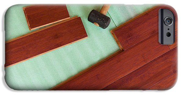 Work Tool iPhone Cases - Wooden bamboo hardwood flooring planks being layed iPhone Case by Stephan Pietzko